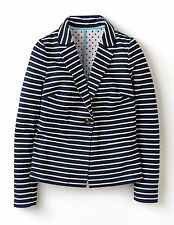 Boden Women's Brand New Summer Jersey Blazer Jacket Navy & Ivory Stripe