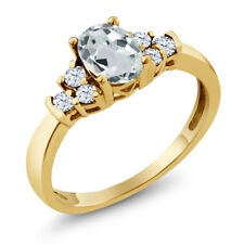 0.67 Ct Oval Sky Blue Aquamarine White Topaz 18K Yellow Gold Ring