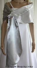 Gorgeous SILVER Satin Pull-through Shawl Wrap Perfect for Bridal Formal NEW