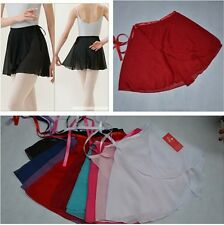 New Women Kids Chiffon Ballet Wrap over Scarf Skirt Dance Leotard Tutu Dress