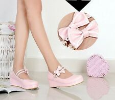 new Womens Sweet Lolita Bowknot Wedge Heel Platform Mary Janes Pumps Court Shoes