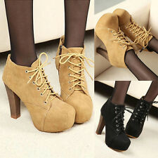 Sexy Zip Lace Up Chunky Heels Hidden Platform Pumps Womens Ankle Booties Boots