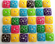 Acrylic Cabochons, Square, Assorted Colours, 10mm x10mmx3.5mm