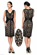 $328 Tadashi Shoji V-Neck Black Nude Lace Pintuck Jersey Piping Sheath Dress