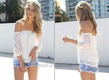 Women Lace Shirt Floral Batwing Short Sleeve Loose Blouse Embroidery T-shirt Top