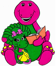 "6-9.5"" BARNEY  DINOSAUR BABY BOP  WALL STICKER GLOSSY BORDER CHARACTER CUT OUT"