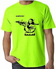 BANKSY MONA LISA WITH BAZOOKA NEON T-SHIRT - Choice Of Colours - FREE P&P