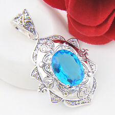HOT beautiful Marquise Blue Topaz Green Topaz Gemstone Silver Necklace Pendant