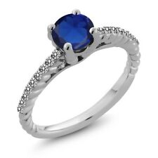 1.89 Ct Round Blue Simulated Sapphire White Diamond 925 Sterling Silver Ring