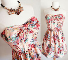 NEW Pink Owl Peachy Pink Vtg Floral Print Sweetheart BOW Accent Strapless Dress