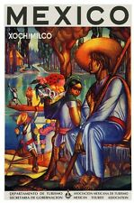6951.Mexico.painting of a man and woman sitting by river.POSTER.art wall decor