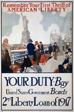 6994.People on boat before statue of liberty.US Bonds.POSTER.art wall decor
