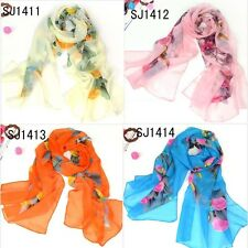 Women  Long Soft Chiffon Flowers Scarf  Wrap Shawl Stole variety Color Choose