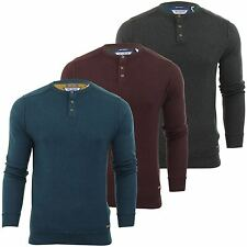 Mens Jumper Threadbare 'Spain' Grandad Cotton Knit long Sleeve Top Sweater