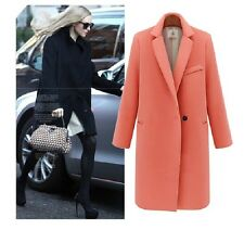 Vogue Womens elegant Slim wool blend western-style clothes long Jacket overcoat