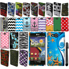 For LG Lucid 4G VS840 PATTERN HARD Protector Case Phone Cover Accessory + Pen