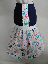 DOG CAT FERRET~Harness Dress Colorful PAW PRINT POWER Pink Blue Purple Outfit
