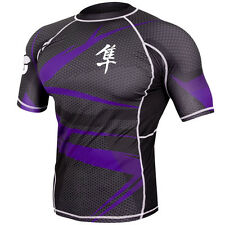 Hayabusa Metaru 47 Silver Short Sleeve Rashguard - Black/Purple