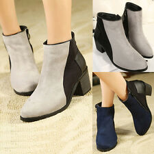 Womens Zip Color Block Suede Martins Boots Mid Chunky Heels Pumps Ankle Booties