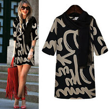 1PC Women Round Neck Letters Printing Slim Bottoming Dress With Scarf Gorgeous