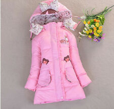Children Winter Sweet Hooded Bowknot Coats Duck Down Warm Candy Color Outwear