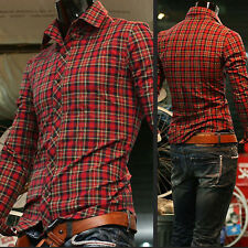 Mens Casual Tops Slim Fit Shirts Long Sleeve Polo Plaid T-Shirt 4Size M L XL XXL