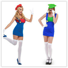 Super Mario Bros Plumber Costume Halloween Overall Style Video Game Dress S M L