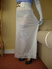 White Silky & Lacy Long Formal Length Half Slip Petticoat M-L-XL-XXL BNWT