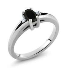 1/2 Ct Stunning Oval Black Onyx 925 Sterling Silver Ring