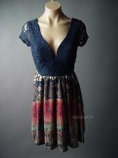 Deep V Plunge Low-Cut Neck Back Navy Lace Tribal Pattern A-Line 98 mv Dress M L