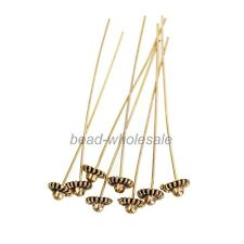 20pcs Antique Silver Golden Flower Tone Long Head Pins Finding For Jewelry