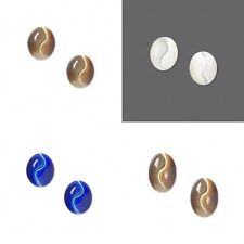 2 Snake Eye Undrilled Flatback Oval Cabochons You Pick Brown Blue White