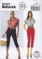 Butterick Sewing Pattern Misses' Top Tie Ends & Jeans SIZE 4-20 B5895 HALF PRICE