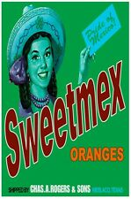 7535.Sweetmex.oranges.woman with hat and ponytail.OSTER.art wall decor
