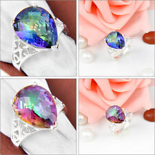 Amazing ! Top Fashion Rainbow Fire Mystical Topaz Gemstone Silver Ring Sz 7 8 9