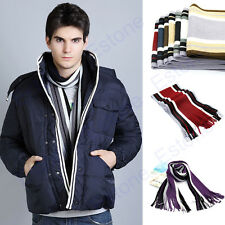 Winter Classical Men Artificial Wool Scarf Tassels Scarf Long Knitting Shawl Hot