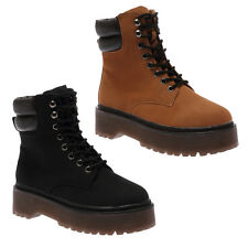NEW WOMENS COMBAT GRIP SOLE LADIES LACE UP ANKLE MILITARY BOOTS SHOES SIZE 2-7