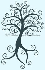 "Tree with Curl Leaves Branches Family Tree Photo Tree 12"" x 12"" Vinyl Wall Decal"