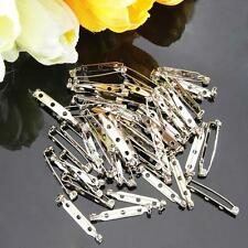 50 Metal Brooch Back Safety Catch Bar Pins 32mm for DIY Brooch Badge Silver Tone