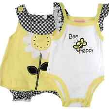 Baby Girl 3 Piece Yellow White Bee & Daisy Motif Top, Diaper Cover Onsie Set