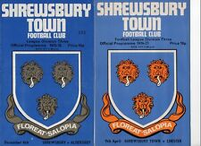 Shrewsbury Town HOME programmes 1975/76 and 1976/77 FREE P&P UK Choose from list