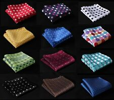 DE Polka Dot Men Silk Satin Pocket Square Hanky Wedding Party Handkerchief