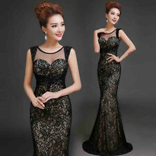 Lace Evening Prom Party Pageant Bridesmaid Dress Mermaid Ballgown Diamante Y71F