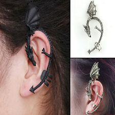 Retro Clip-On Punk Dragon Ear Clip Gothic Chic Plated Jewelry Tone Earrings B