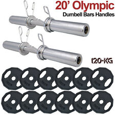 "Maxstrength Olympic 20"" Dumbbell Barbell Bars 2"" Training Weight Lifting Plates"