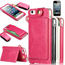 Leather Credit Card Holder Pouch Hard Cover Wallet Flip Case For iPhone 5 5S