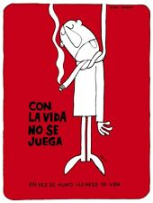8130.Con la vida no se juega.man hanging from rope.POSTER.art wall decor