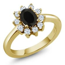 1.08 Ct Oval Black Onyx White Topaz 18K Yellow Gold Ring