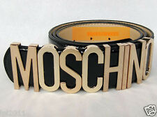 New Authentic patent leather Moschino Belt With Gold Letters 80sVGCDustBag&Box