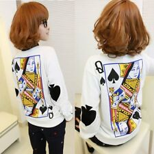 S-XL Spade Queen Print Long Sleeve T Shirt White Sweater Poker Round Neck Blouse